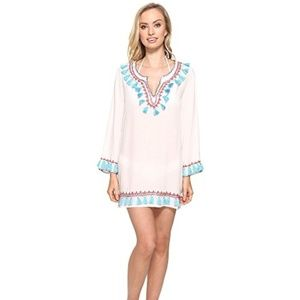 Bindya boho tassels long sleeve tunic coverup